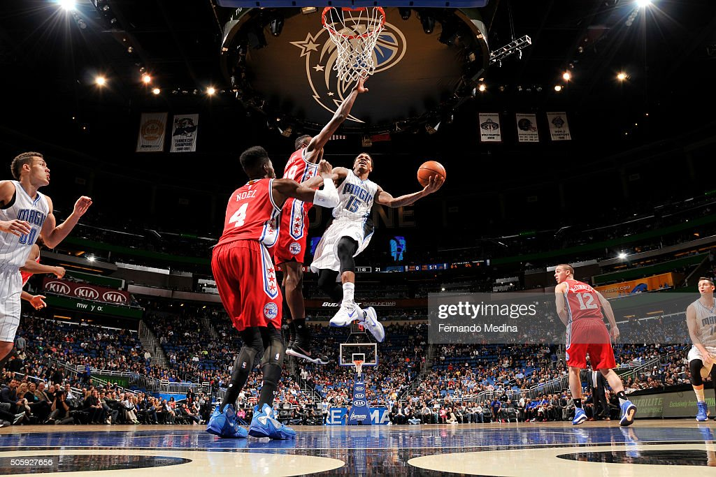Keith Appling of the Orlando Magic goes for the layup against the Philadelphia 76ers during the game on January 20 2016 at Amway Center in Orlando...