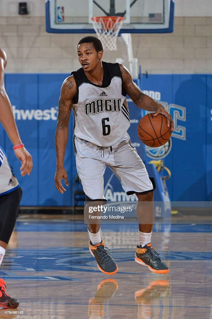 Keith Appling of the Orlando Magic handles the ball against the Detroit Pistons on July 4 2015 at Amway Center in Orlando Florida NOTE TO USER User...