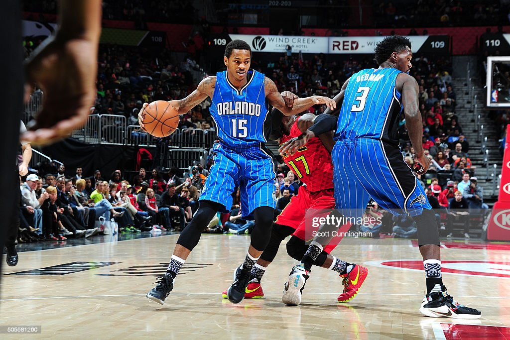Keith Appling of the Orlando Magic handles the ball during the game against the Atlanta Hawks on January 18 2016 at Philips Arena in Atlanta Georgia...