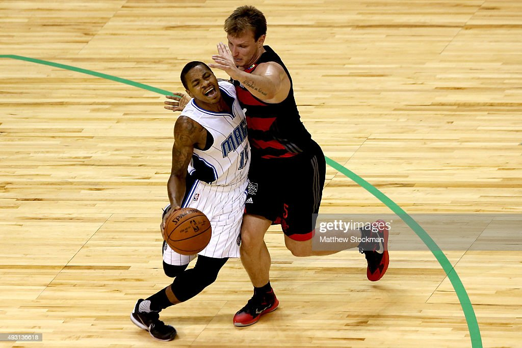 Keith Appling of the Orlando Magic is guarded by Rafael Freire Luz of CR Flamengo during a NBA Global Games Rio 2015 match at HSBC Arena on October...
