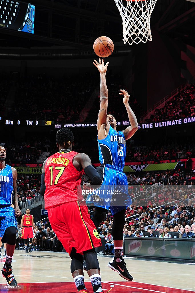 Keith Appling of the Orlando Magic shoots the ball during the game against the Atlanta Hawks on January 18 2016 at Philips Arena in Atlanta Georgia...