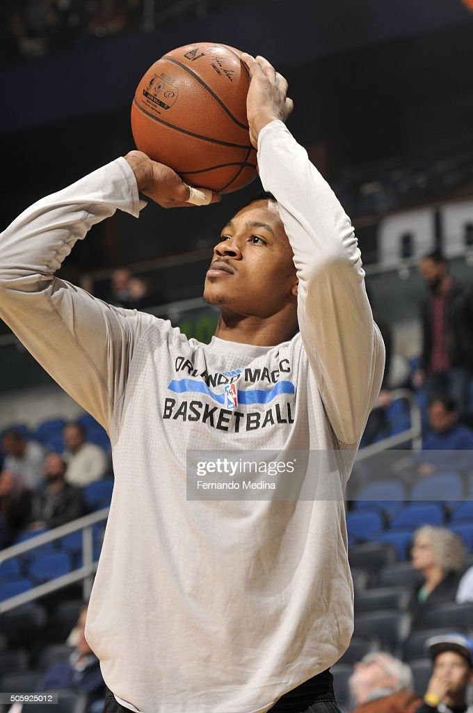 Keith Appling of the Orlando Magic warms up before the game against the Philadelphia 76ers on January 20 2016 at Amway Center in Orlando Florida NOTE...
