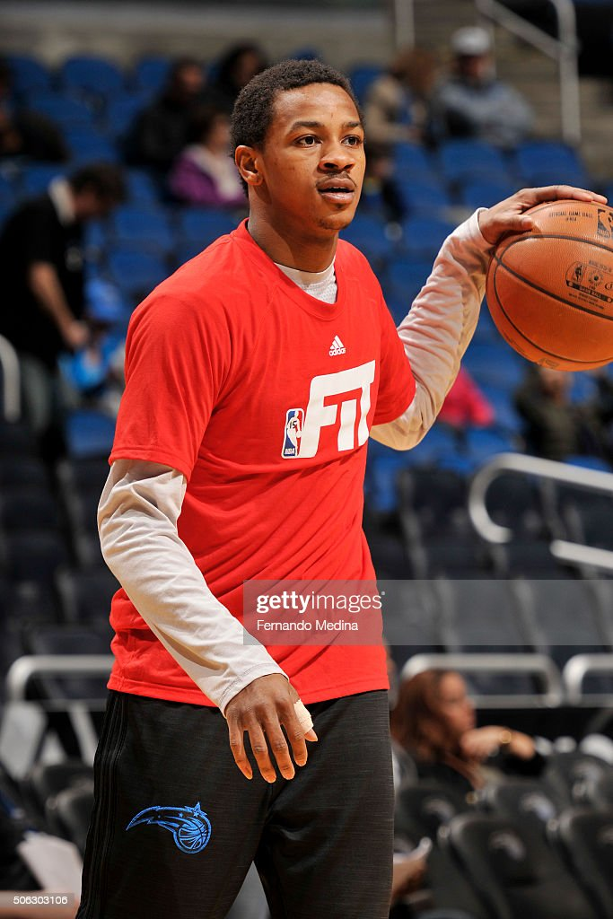 Keith Appling of the Orlando Magic warms up before the game against the Charlotte Hornets on January 22 2016 at Amway Center in Orlando Florida NOTE...
