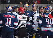 Keith Aucoin Micki DuPont Mark Olver of the Eisbaeren Berlin and Daniel Sparre of EHC Red Bull Muenchen during the game between EHC Red Bull Muenchen...