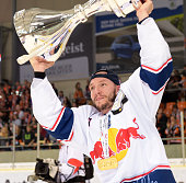 Keith Aucoin of EHC Red Bull Muenchen after the game between the Grizzlys Wolfsburg and dem EHC Red Bull Muenchen on april 22 2016 in Muenchen Germany