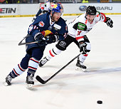 Keith Aucoin of EHC Red Bull Muenchen and Marcel Ohmann of the Koelner Haien during the game between the EHC Red Bull Muenchen and Koelner Haie on...