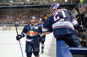 Keith Aucoin of EHC Red Bull Muenchen during the DEL playoff match between the EHC Red Bull Muenchen and Grizzlys Wolfsburg on April 19 2016 in...