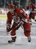 Keith Aucoin of the Albany River Rats skates against the Bridgeport Sound Tigers at the Arena at Harbor Yard on November 26 2006 in Bridgeport...