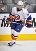 Keith Aucoin of the New York Islanders skates during warm ups prior to the NHL game against the Toronto Maple Leafs April 18 2013 at the Air Canada...