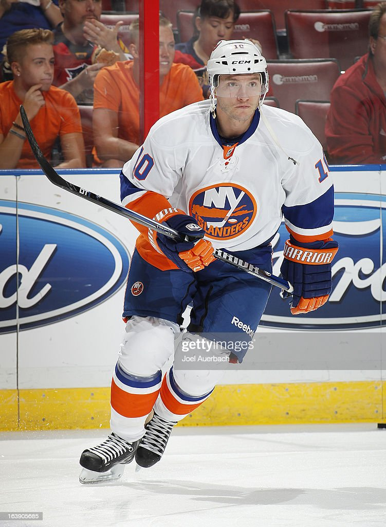 Keith Aucoin of the New York Islanders skates prior to the game against the Florida Panthers at the BBT Center on March 16 2013 in Sunrise Florida...