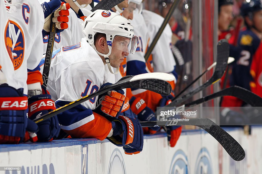 Keith Aucoin of the New York Islanders watches the action during a fight against the Florida Panthers at the BBT Center on March 16 2013 in Sunrise...