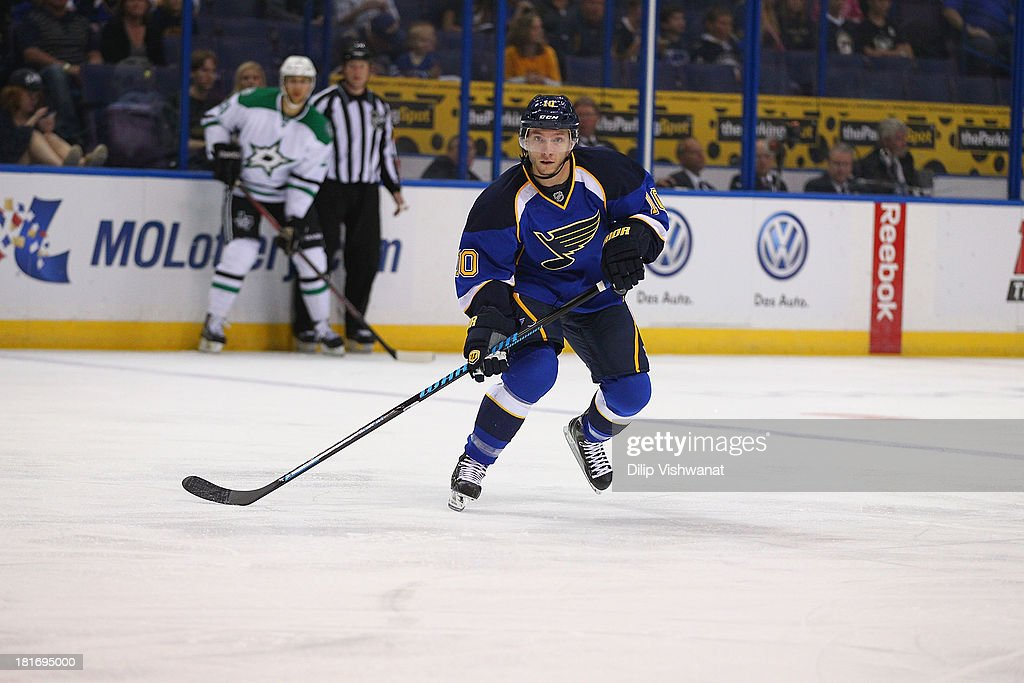 <a gi-track='captionPersonalityLinkClicked' href=/galleries/search?phrase=Keith+Aucoin&family=editorial&specificpeople=2125652 ng-click='$event.stopPropagation()'>Keith Aucoin</a> #10 of the St. Louis Blues skates against the Dallas Stars during a preseason at the Scottrade Center on September 21, 2013 in St. Louis, Missouri. The Blues beat the Stars 3-2 in overtime.