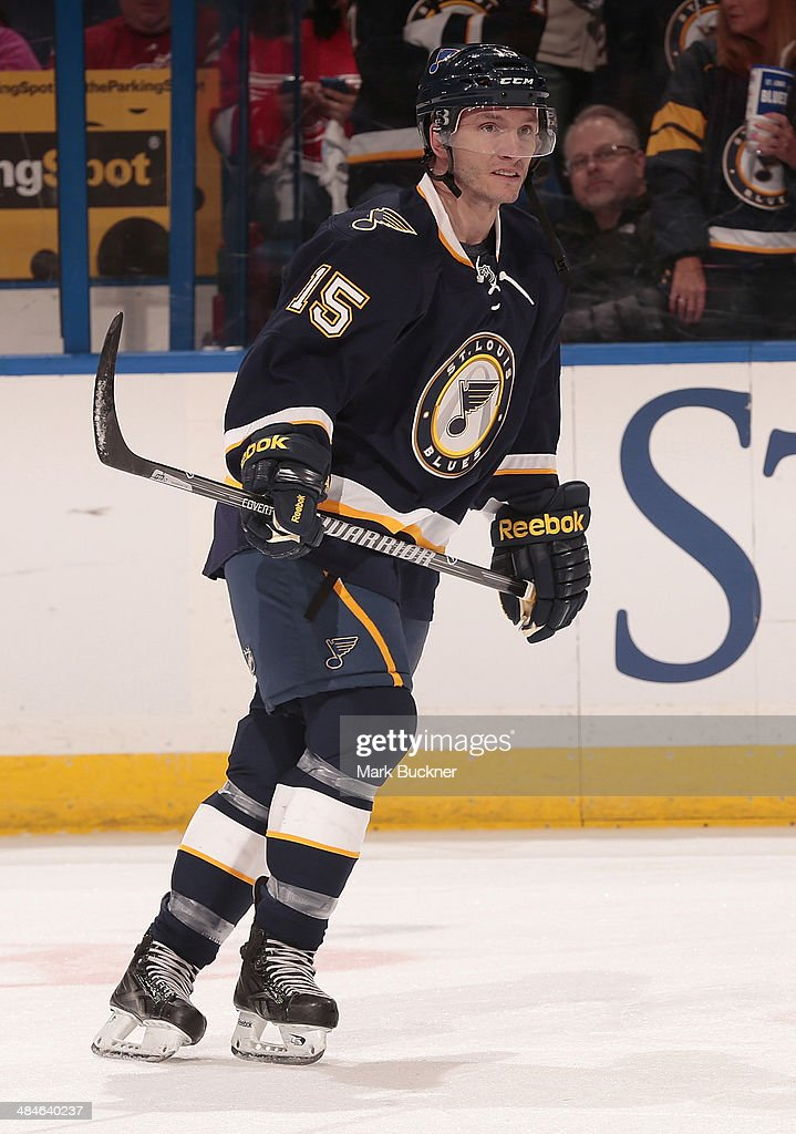 <a gi-track='captionPersonalityLinkClicked' href=/galleries/search?phrase=Keith+Aucoin&family=editorial&specificpeople=2125652 ng-click='$event.stopPropagation()'>Keith Aucoin</a> #15 of the St. Louis Blues warms up prior to an NHL game against the Detroit Red Wings on April 13, 2014 at Scottrade Center in St. Louis, Missouri.