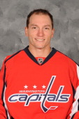 Keith Aucoin of the Washington Capitals poses for his official headshot for the 20112012 NHL season on September 16 2011 at the Kettler Capitals...