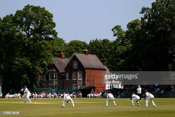 Keith Barker of Warwickshire in action during day two of the LV County Championship Division One match between Surrey and Warwickshire at Guildford...