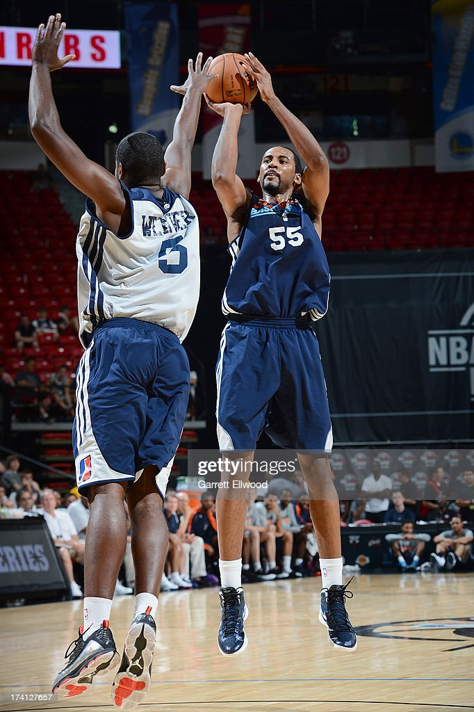 Keith Benson #55 of the Charlotte Bobcats goes for a jump shot against KyleWeaver #5 of the D-League Select Team during NBA Summer League game between the Charlotte Bobcats and the D-League Select Team on July 20, 2013 at the Cox Pavilion in Las Vegas, Nevada.