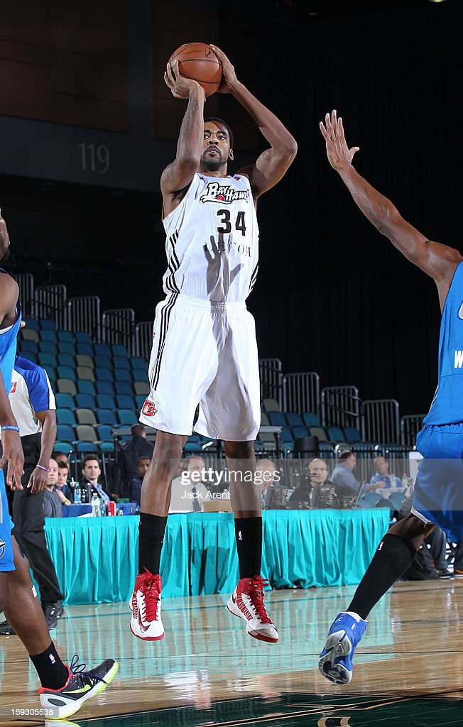 Keith Benson #34 of the Erie Bayhawks shoots the ball against the Texas Legends during the 2013 NBA D-League Showcase on January 10, 2013 at the Reno Events Center in Reno, Nevada.