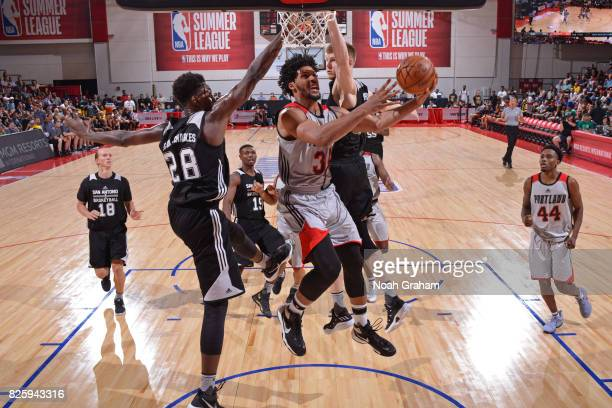 Keith Benson of the Portland Trail Blazers drives to the basket during the 2017 Las Vegas Summer League game against the San Antonio Spurs on July 11...