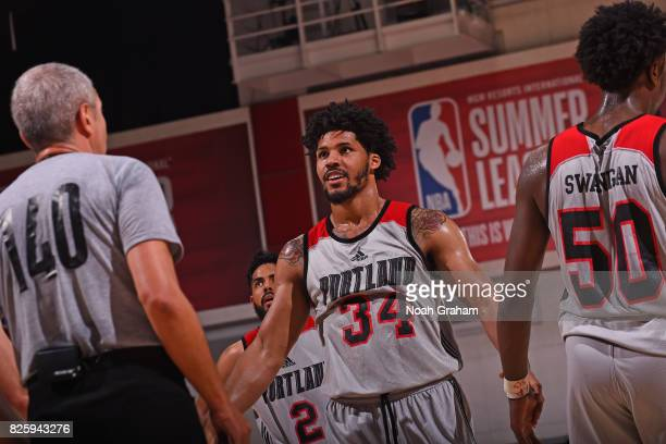 Keith Benson of the Portland Trail Blazers shakes teammates hands during the 2017 Las Vegas Summer League game against the San Antonio Spurs on July...
