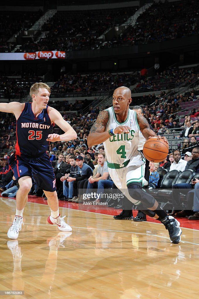 <a gi-track='captionPersonalityLinkClicked' href=/galleries/search?phrase=Keith+Bogans&family=editorial&specificpeople=202483 ng-click='$event.stopPropagation()'>Keith Bogans</a> #4 of the Boston Celtics drives to the basket against <a gi-track='captionPersonalityLinkClicked' href=/galleries/search?phrase=Kyle+Singler&family=editorial&specificpeople=4216029 ng-click='$event.stopPropagation()'>Kyle Singler</a> #25 of the Detroit Pistons on November 3, 2013 at The Palace of Auburn Hills in Auburn Hills, Michigan.