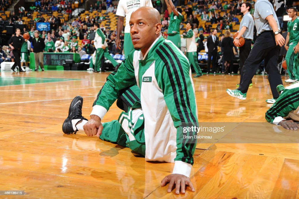 <a gi-track='captionPersonalityLinkClicked' href=/galleries/search?phrase=Keith+Bogans&family=editorial&specificpeople=202483 ng-click='$event.stopPropagation()'>Keith Bogans</a> #4 of the Boston Celtics warms up before the game against the Denver Nuggets on December 6, 2013 at the TD Garden in Boston, Massachusetts.