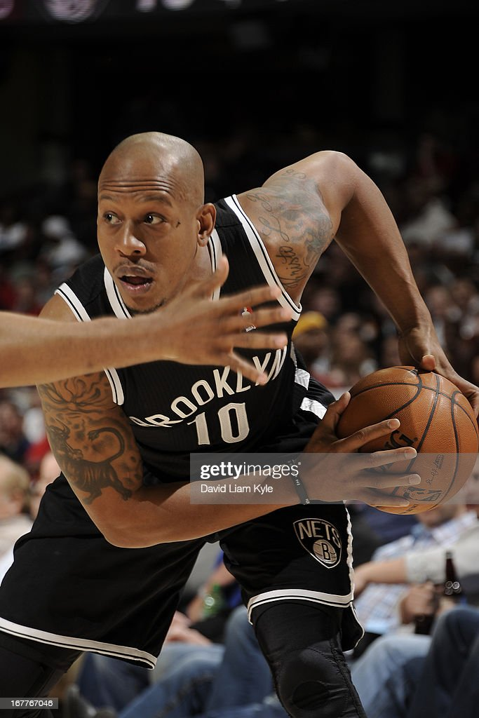 <a gi-track='captionPersonalityLinkClicked' href=/galleries/search?phrase=Keith+Bogans&family=editorial&specificpeople=202483 ng-click='$event.stopPropagation()'>Keith Bogans</a> #10 of the Brooklyn Nets controls the ball against the Cleveland Cavaliers at The Quicken Loans Arena on April 3, 2013 in Cleveland, Ohio.