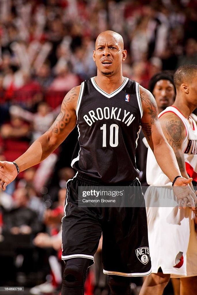 <a gi-track='captionPersonalityLinkClicked' href=/galleries/search?phrase=Keith+Bogans&family=editorial&specificpeople=202483 ng-click='$event.stopPropagation()'>Keith Bogans</a> #10 of the Brooklyn Nets reacts during a game against the Portland Trail Blazers on March 27, 2013 at the Rose Garden Arena in Portland, Oregon.