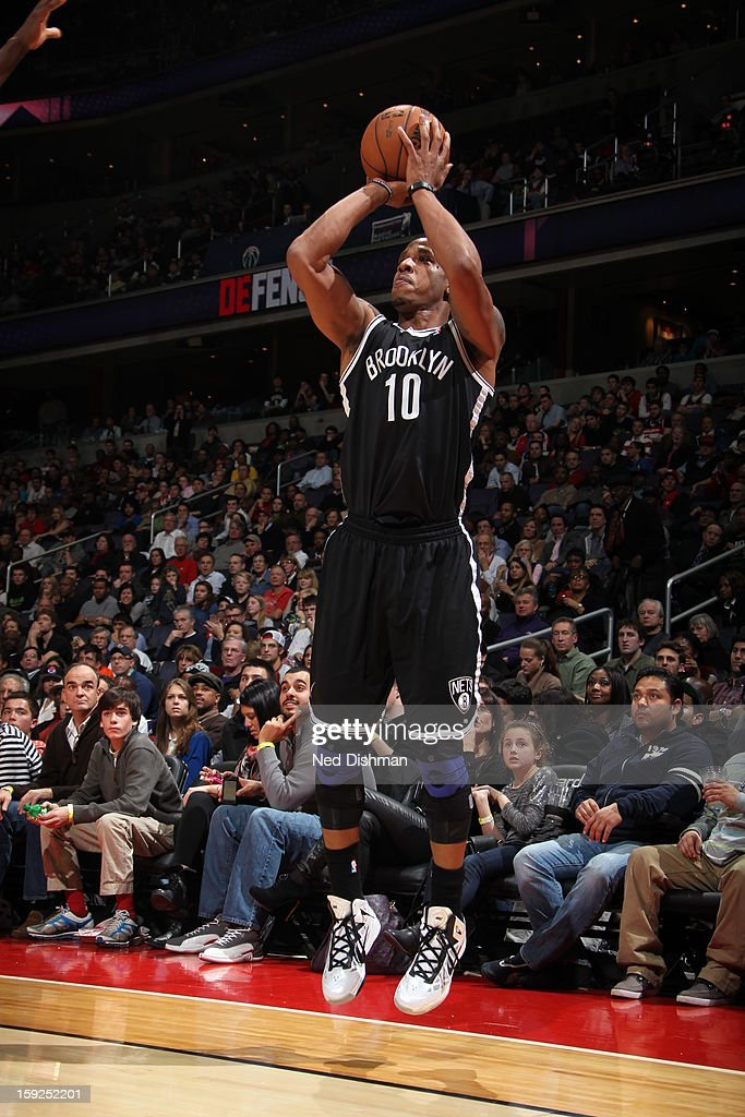 <a gi-track='captionPersonalityLinkClicked' href=/galleries/search?phrase=Keith+Bogans&family=editorial&specificpeople=202483 ng-click='$event.stopPropagation()'>Keith Bogans</a> #10 of the Brooklyn Nets shoots against the Washington Wizards on January 4, 2013 at the Verizon Center in Washington, DC.