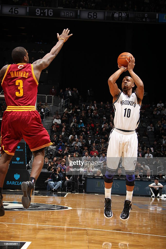 Keith Bogans #10 of the Brooklyn Nets takes a shot over Dion Waiters #3 of the Cleveland Cavaliers on November 13, 2012 at the Barclays Center in the Brooklyn Borough of New York City.