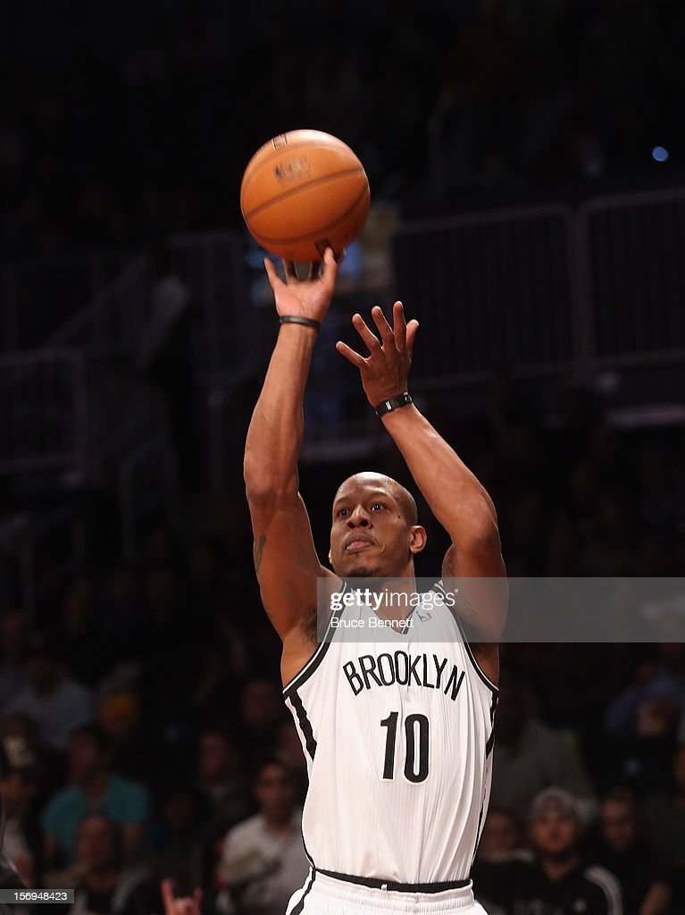 Keith Bogans #10 of the Brooklyn Nets takes the shot against the Portland Trail Blazers at the Barclays Center on November 25, 2012 in the Brooklyn borough of New York City.