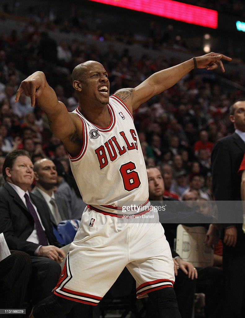 <a gi-track='captionPersonalityLinkClicked' href=/galleries/search?phrase=Keith+Bogans&family=editorial&specificpeople=202483 ng-click='$event.stopPropagation()'>Keith Bogans</a> #6 of the Chicago Bulls celebrates hitting a three-point shot against the Indiana Pacers in Game Five of the Eastern Conference Quarterfinals in the 2011 NBA Playoffs at the United Center on April 26, 2011 in Chicago, Illinois. The Bulls defeated the Pacers 116-89.