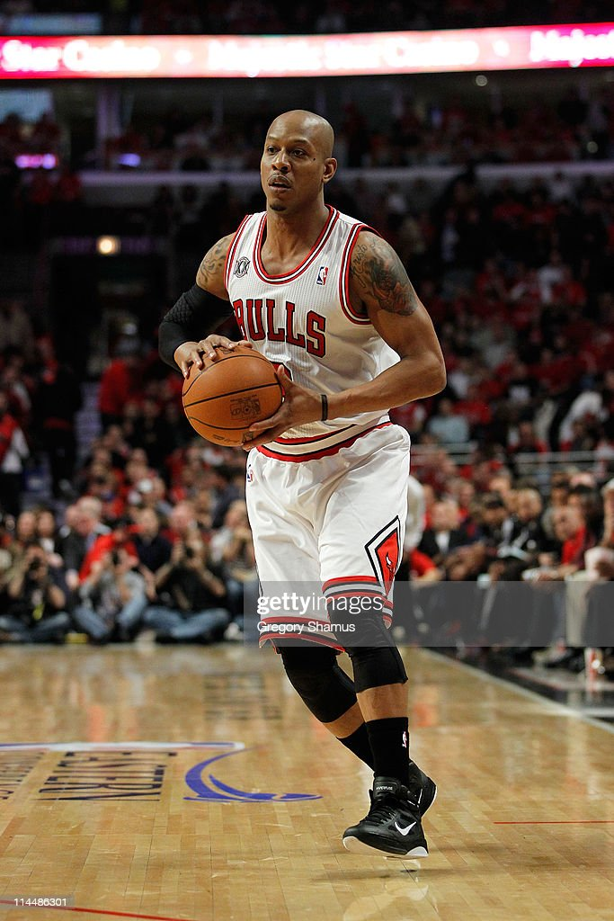 <a gi-track='captionPersonalityLinkClicked' href=/galleries/search?phrase=Keith+Bogans&family=editorial&specificpeople=202483 ng-click='$event.stopPropagation()'>Keith Bogans</a> #6 of the Chicago Bulls looks to pass against the Miami Heat in Game One of the Eastern Conference Finals during the 2011 NBA Playoffs on May 15, 2011 at the United Center in Chicago, Illinois. The Bulls won 103-82.