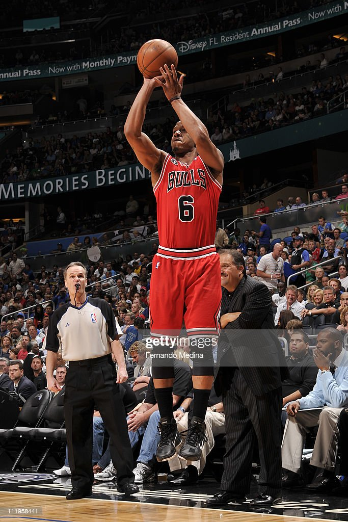 <a gi-track='captionPersonalityLinkClicked' href=/galleries/search?phrase=Keith+Bogans&family=editorial&specificpeople=202483 ng-click='$event.stopPropagation()'>Keith Bogans</a> #6 of the Chicago Bulls shoots against the Orlando Magic on April 10, 2011 at the Amway Center in Orlando, Florida.