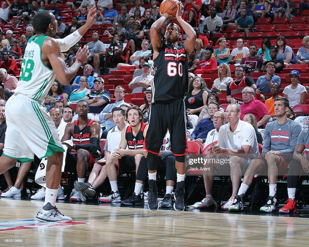 <a gi-track='captionPersonalityLinkClicked' href=/galleries/search?phrase=Keith+Bogans&family=editorial&specificpeople=202483 ng-click='$event.stopPropagation()'>Keith Bogans</a> #60 of the Portland Trail Blazers shoots against the Boston Celtics during the game on July 16, 2015 at Thomas And Mack Center, Las Vegas, Nevada.