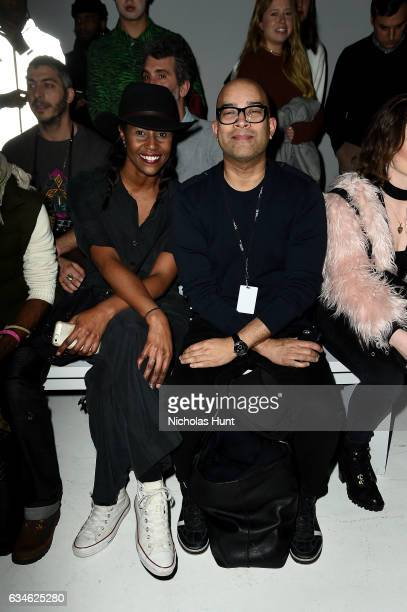 Keith Bortista and Tiffany attend the Chromat collection front row during New York Fashion Week The Shows at Gallery 3 Skylight Clarkson Sq on...