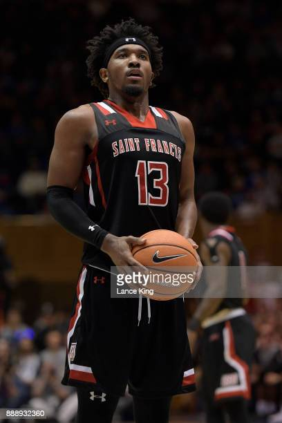 Keith Braxton of the St Francis Red Flash concentrates at the freethrow line against the Duke Blue Devils at Cameron Indoor Stadium on December 5...