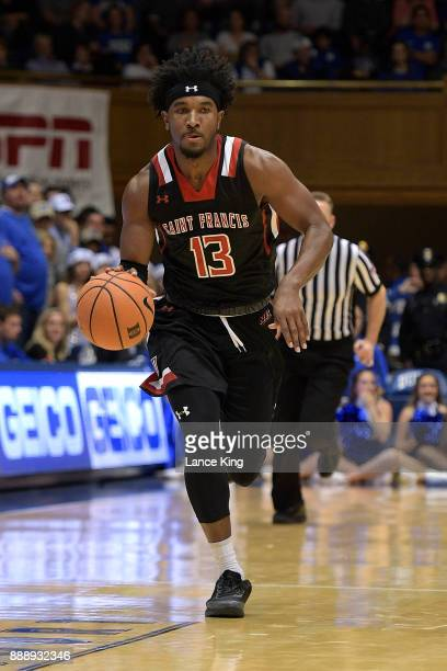 Keith Braxton of the St Francis Red Flash dribbles up court against the Duke Blue Devils at Cameron Indoor Stadium on December 5 2017 in Durham North...
