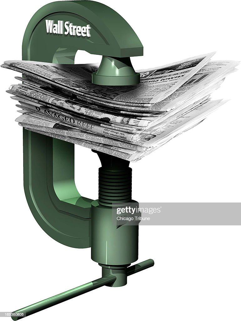 Keith Claxton color illustration of Wall Street vise squeezing newspapers together
