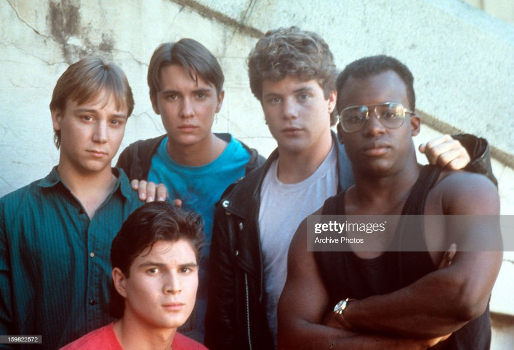 Keith Coogan Wil Wheaton Sean Astin and others on set of the film 'Toy Soldiers' 1991