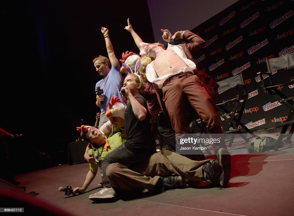Keith Crofford, Seth Green, Matt Senreich, Breckin Meyer, Clare Grant, Macaulay Culkin, Tom Root and Tom Sheppard pose onstage at the Robot Chicken Panel during New York Comic Con 2017 -JK at Hammerstein Ballroom on October 6, 2017 in New York City. 27356_002