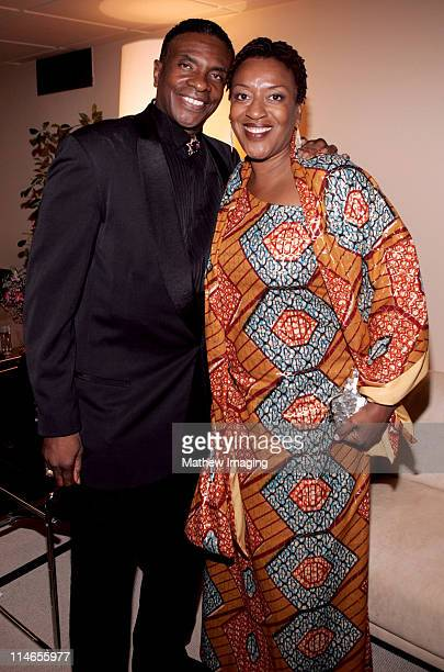 Keith David and CCH Pounder during 57th Annual Primetime Creative Arts EMMY Awards Green Room at Shrine Auditorium in Los Angeles California United...