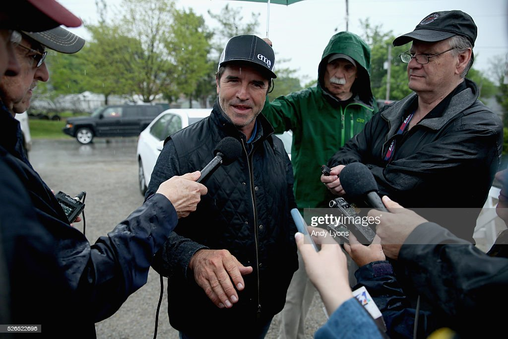 Keith Desormeaux the trainer of Exaggerator talks with the media during the Morning training for the 2016 Kentucky Derby at Churchill Downs on April 30, 2016 in Louisville, Kentucky.