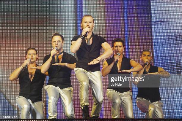 Keith Duffy Mikey Graham Ronan Keating Stephen Gately and Shane Lynch of the Irish pop group Boyzone perform on stage on May 31 2008 at the O2 Arena...