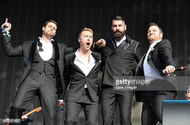 Keith Duffy Ronan Keating Shane Lynch and Mikey Graham of Boyzone perform on stage at British Summer Time Festival at Hyde Park on July 13 2014 in...