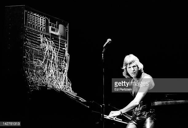 Keith Emerson performs with Emerson Lake and Palmer at Oakland Coliseum Arena on August 6 1977 in Oakland California