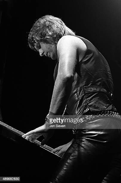 Keith Emerson performs with Emerson Lake And Palmer on August 4 1977 at the Cow Palace