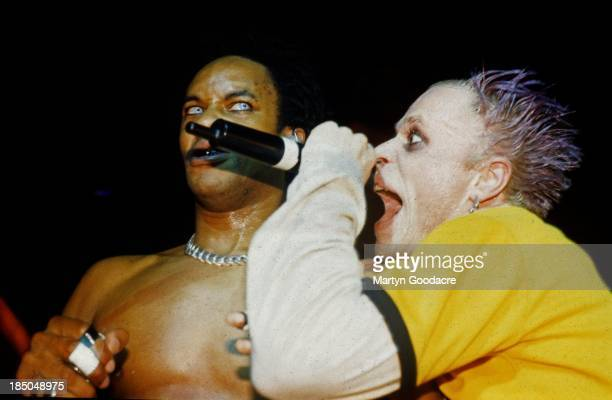 Keith Flint and Maxim of the Prodigy perform on stage United Kingdom 1997
