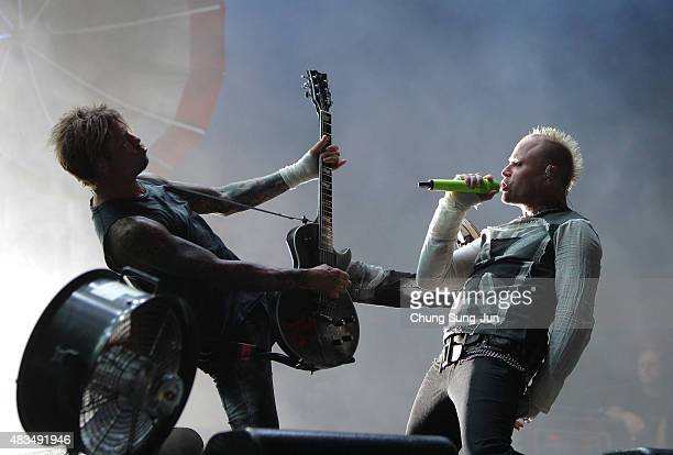 Keith Flint of the Prodigy performs onstage during the day three of the Incheon Pentaport Rock Festival on August 9 2015 in Incheon South Korea