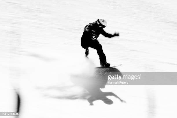 Keith Gabel of USA competes in the Men's Banked Slalom Lower Limb 2 Imp final during the Winter Games NZ Para Snowboard Banked Slalom World Cup event...