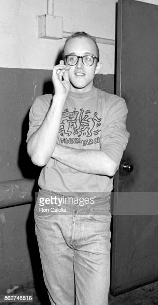 Keith Haring attends CBS TV New Year's Eve Party on December 31 1987 at the Waldorf Hotel in New York City